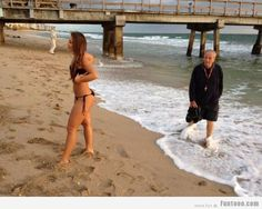 Old Man On the Beach -- hilarious jokes funny pictures walmart fails meme humor
