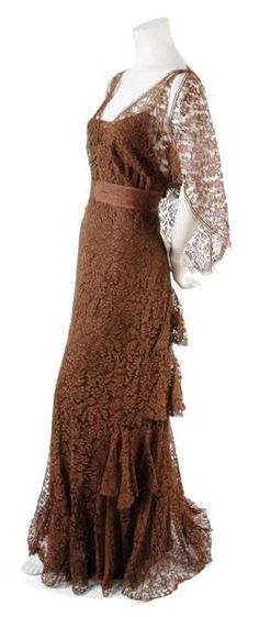 GORGEOUS!!!  >>A French Couture Brown Lace Dress, 1936