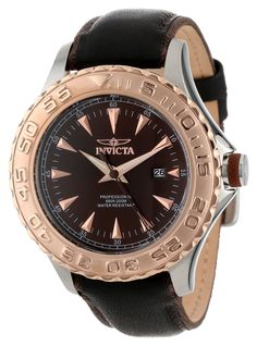 Invicta Men's 12616 Pro Diver Black Dial Black Leather Strap Watch. Japanese quartz movement. Mineral crystal; stainless steel case; black leather strap with brown nylon trim. Date function. Brown dial with rose gold tone hands and hour markers; luminous; unidirectional18k rose gold ion-plated stainless steel bezel; brown accent ring on crown. Water resistant to 660 feet (200 M): suitable for recreational scuba diving.
