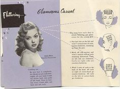 Pin curl set instructions from the 1940s for a Glamorous Casual hairstyle. #vintage #1940s #hair #hairstyles