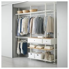 ELVARLI 3 sections, white, bamboo. ELVARLI storage system adapts to your space. The open solution with durable bamboo shelves creates an attractive display of your belongings. Ikea Pax, Ikea Elvarli, Algot Ikea, Bamboo Shelf, Ceiling Materials, Honeycomb Paper, Painted Drawers, Ikea Family, Plastic Drawers