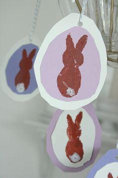 Cute! Bunnies made with potato prints.