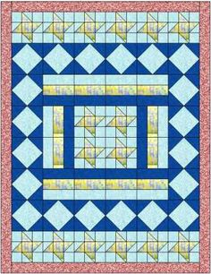 The Hemingway quilt is named after the fabric range used. It is a rectangular quilt, using 3 different quilt blocks, all easy to make.