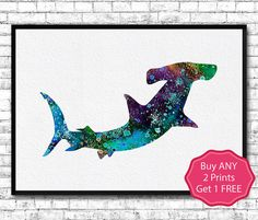 Hammerhead Shark Watercolor Print Shark Art by ArtsPrint on Etsy