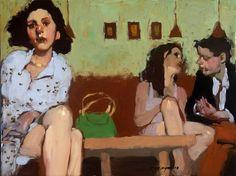 """Milt Kobayashi   """"Seated-Waiting"""", oil on canvas"""