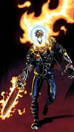 Ghost Rider 2099 by iliaskrzs on DeviantArt Marvel 2099, Marvel Comics Art, Marvel Comic Books, Comic Books Art, Comic Art, Spawn Comics, Book Art, Ghost Rider 2099, Ghost Rider Marvel