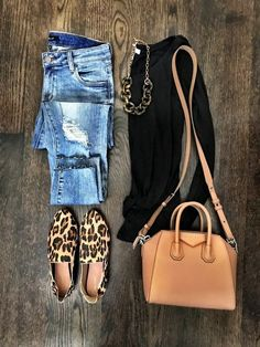 Black top, skinny jeans, leopard mules, camel crossbody bag