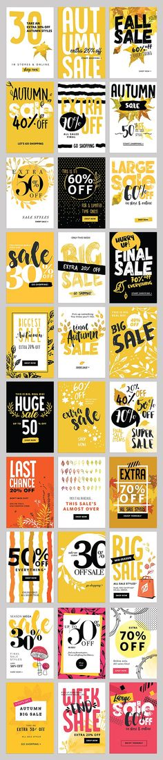 Buy Autumn Social Media Sale Banners by PureSolution on GraphicRiver. Set of social media sale banners, and ads web templates. Vector illustrations can be usedseason online shopping websi. Graphisches Design, Email Design, Flyer Design, Layout Design, Design Ideas, Social Media Banner, Social Media Design, Sale Banner, Web Banner