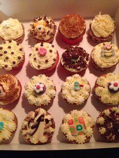 Vanilla cupcakes, buttercream and amazing chocolate decoration