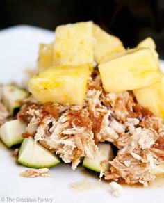 4-ingredient Pineapple Slow Cooker Chicken just might win a prize for the world's easiest Phase 1 lunch. Serve with extra pineapple!