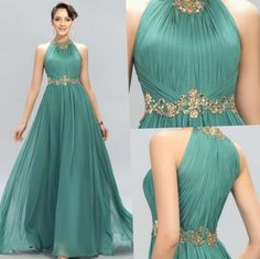 2016 new arrival prom dresses halter crystal beads ruffles a line long modest green formal evening party pageant woman dress gowns 2015 brand prom dresses A Line Evening Dress, Evening Gowns, Evening Party, Lace Evening Dresses, Cheap Mermaid Prom Dresses, Modest Dresses, Formal Dresses, Prom Dresses 2016, Custom Dresses