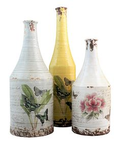 Take a look at this Hattie Bottle Set by The Import Collection on #zulily today! Love. love. love. old bottles but they are hard to find and a lot of money. These are a very nice way to get the look without spending a ton of money.