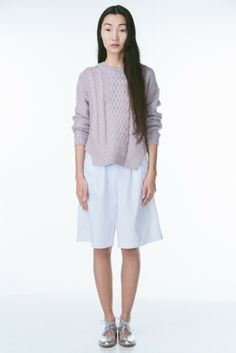 Soft Pastel Lavender Cable Knit Women's Sweater by Funktional