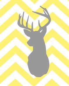 Deer Silhouette with Chevron Zig Zag Stripes  Set of by karimachal, $28.00
