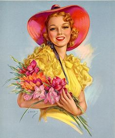 vandavintage: ruffles and gladiolas, Jules Erbit vintage illustration Pinup Art, Vintage Pictures, Vintage Images, Vintage Ladies, Retro Vintage, Rolf Armstrong, Vintage Beauty, Vintage Cards, Vintage Prints