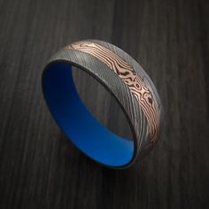 Damascus and 14K ROSE GOLD Mokume Gane Shakudo Ring with Cerakote Sleeve Custom Made