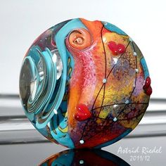 Summer Love -Lampwork lentil shape focal bead-37mm From AstridRiedel $75
