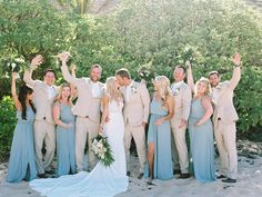 Tans and Baby Blues are the perfect recipe for a refreshing summer look. Tan Suits by The Black Tux. Tan Tux Wedding, Light Blue Suit Wedding, Wedding Attire, Wedding Dresses, Tan Groomsmen Suits, Baby Blue Weddings, Summer Weddings, Dusty Blue Bridesmaid Dresses, Before Wedding