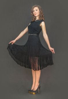 Black exclusive knitted dress by LecrochetArt on Etsy, $560.00