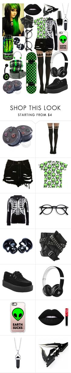 """Untitled #184"" by theabyssofdepression ❤ liked on Polyvore featuring The Ragged Priest, Iron Fist, Karl Lagerfeld, T.U.K., Beats by Dr. Dre, Casetify, Lime Crime, Bridge Jewelry and OPI"