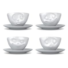 Normal cups and saucers are so boring. Add a little character to kitchen cupboards with these super little cups for every emotion!