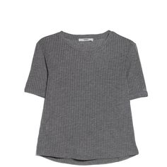Mango Ribbed T-Shirt ($7.54) ❤ liked on Polyvore featuring tops, t-shirts, rib tee, mango tops, mango t shirt, ribbed top and round neck t shirt