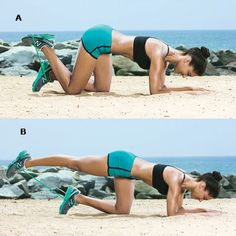 Try this tripod kick to tone your glutes