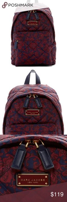 """NWT Marc Jacobs Quilted Paisley Backpack Marc Jacobs Quilted Mini Paisley Backpack - A printed backpack that is easy to carry and a stylish must-have for any closet. Single top handle & zip closure. Exterior features one zip pocket & interior features one zip pocket. Approx. backpack size14"""" H x 14"""" W x 7"""" D . Approx. 3"""" handle drop, 6-12"""" strap drop. Textile exterior/lining. Item is new. Purchased at a discount so price reflects that. Was a gift. Comes from a smoke free home. Item sold as…"""