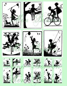 Kinder bei Spiel Digital Collage Sheet von Silhouette Bilder und Szenen Nr. 129-sofort-DOWNLOAD