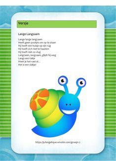 Versje: Lange langzaam (slak) Autumn Theme, Tech Logos, Verses, Diy And Crafts, Poetry, School, Kids, Animaux, Yoga For Kids