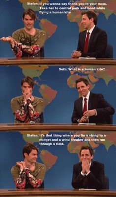 Stefon is the best. My favorite part about these skits is they both cover their mouths and giggle. In every one. It's adorable.