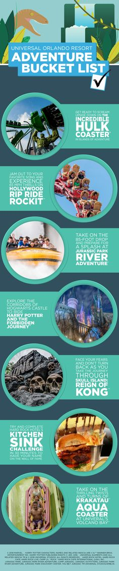 Are you adventurous? Here's your Universal Orlando Resort Adventurer Bucket List featuring rides like Hollywood Rip Ride Rockit, Jurassic Park River Adventure, Skull Island: Reign of Kong and more! Universal Studios Florida, Universal Orlando Hotels, Orlando Resorts, Park Resorts, Orlando Vacation, Florida Images, Orlando Theme Parks, Disney Destinations, Adventure Bucket List