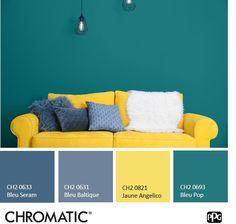 [Pétillant] Osez associer du #bleu et du #jaune dans un  #salon : un accord ensoleillé source d'énergie. Living Room Color Schemes, Living Room Sets, Living Room Decor, Home Bedroom, Bedroom Wall, Salon Style, Color Stories, Home Staging, Room Colors