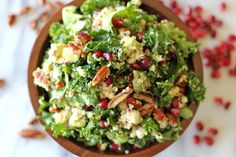 Lean Green Power Salad with kale, quinoa, pomegranate and avocado!