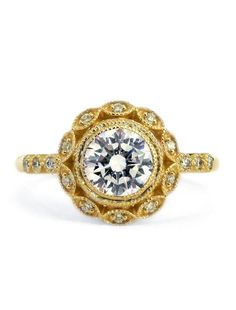 Valenica- Unique Diamond Halo Engagement Ring in Yellow Gold – Dana Walden Bridal :: Engagement Ring Designers - NYC