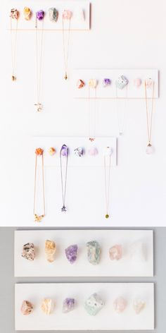 DIY Rough Crystal Necklace Display Tutorial from Julep. Another easy to make jew. - DIY Rough Crystal Necklace Display Tutorial from Julep. Another easy to make jewelry display that i - Diy Jewelry Holder, Diy Jewelry Making, Porta Colares Ideas, Creation Deco, Crystal Decor, Diy Crystal Crafts, Diy Crystals, Jewellery Display, Diy Necklace Display