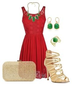 Red, Green and Gold by kburton1971 on Polyvore featuring polyvore mode style Ivanka Trump Monica Vinader Kendra Scott fashion clothing
