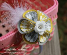 Grey and Mustard Harlequin Wool Felt Flower by sleepingbcreations, $11.00