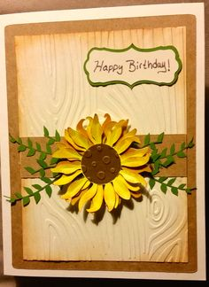 Sunflower birthday card Cards Diy, Handmade Cards, Fall Birthday, Happy Birthday, Sunflower Cards, Homemade Birthday Cards, Autumn Cards, Birthday Cards For Women, Falling Leaves