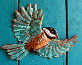 Chickadee in Flight - Copper songbird sculpture by Mark - with slate-black, white, and blue-green patinas - OOAK
