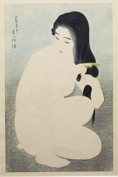 "redlipstickresurrected: ""Torii Kotondo aka 鳥居 言人 aka Saitō Akira aka 斎藤 信 (Japanese, b. Nihonbashi district of Tokyo, Japan) - Kamisuki (Combing Her Hair), 1929 Woodcuts "" Japanese Drawings, Japanese Prints, Tag Art, Art Indien, Art Asiatique, Japanese Painting, Japan Art, Tokyo Japan, Life Drawing"