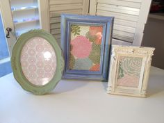 Shabby Chic Frame Trio periwinkle blue sage by LovelyByLindsey, $22.00