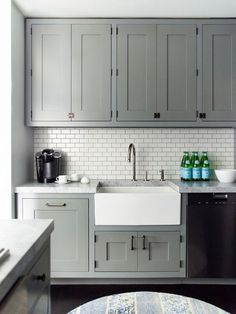 grey kitchen white tiles - Google Search