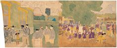 Full title: 1 AT CAINS FAIR. VIOLETS SISTERS AT HER COMMAND, ESCAPES, BUT SHE REMAINS A PRISONER, AND SHE EVEN IN THE FACE OF GUNS, OBSTINATELY REFUSES TO TELL WHERE THEY WENT. / 2 AT CAINS FAIR, Her sisters comes to he rescue and all the officers except Cannon are cap-tured Note the strange phenomena. - Henry Darger