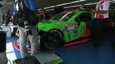 In the garage area at Charlotte Motor Speedway