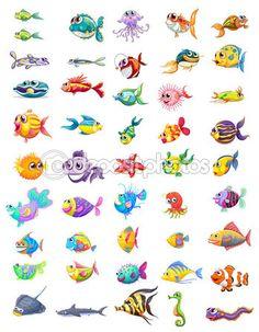 Grupo de peixes diferentes — Ilustração de Stock #28832437