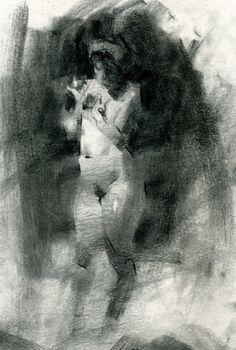 Jennifer McChristian, standing nude female charcoal on paper drawing. jennifermcchristian.com