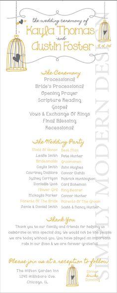 birdcage wedding program ceremony program by xSimplyModernDesignx #wedding #program #birdcage
