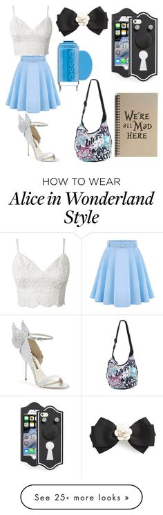"""Alice in wonderland Disney Bound"" by turtle27 on Polyvore featuring WithChic, Sophia Webster, Tasha, Marc by Marc Jacobs, Essie, Disney, women's clothing, women, female and woman"