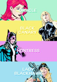 Barbara Gordon & Dinah Lance & Helena Bertinelli & Zinda Blake: the Birds of Prey Comic Book Characters, Comic Character, Comic Books Art, Comic Art, Dc Comics Art, Comics Girls, Marvel Dc Comics, Heroes United, Dc Heroes